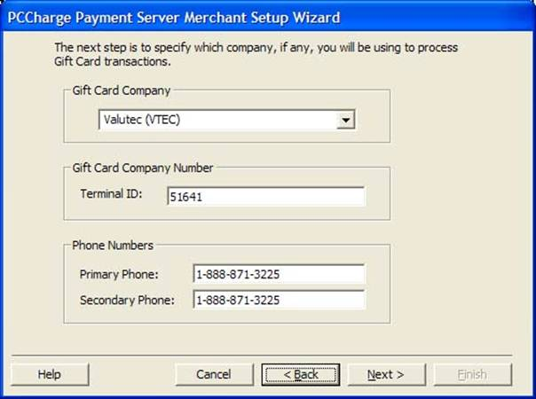 """Select Valutec (VTEC) from the list and in """"Terminal ID"""" enter the TID number assigned to you by SPS. (51641 is ASI's test account number)."""